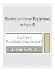 Research Participation Requirements 111_Fall13