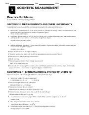 Pearson Chp 3 Review Name Date Class Scientific Measurement