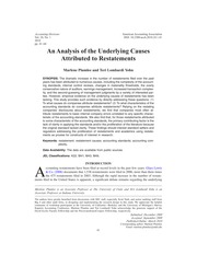 Plumlee & Yohn_2010_An analysis of the underlying causes of attributed to restatements