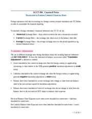 Notes Ch 8 - Translation of Foreign Currency FS