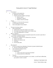 Study Guide for Lecture 5 - Target marketing I
