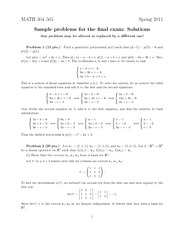 Sample Final Exam 2011 - Solutions