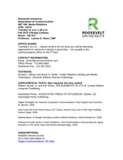 Media Relations Syllabus 2013