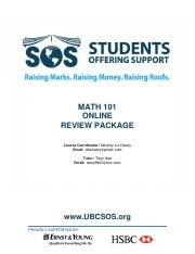 MATH 101 Final Exam Aid - Online Package