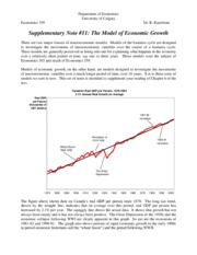 Supplementary Note #11, The Model of Economic Growth