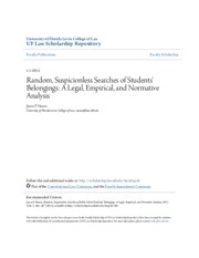 Random Suspicionless Searches of Students Belongings- A Legal