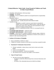 Criminal Behavior- Study Guide- Sexual Assault of Children and Youth & Other Sexual Offenses
