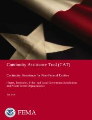 Continuity Assistance Tool non Federal entities