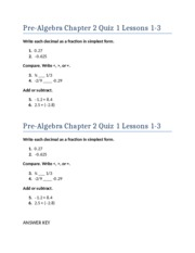 Pre-Algebra Chapter 2 Quiz 1 Lessons 1-3