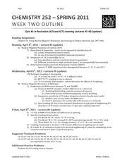 Week 2 Outline (update) NMP 252 SP11