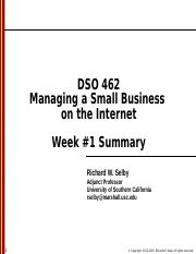 DSO 462 - Class session 1 - Summary