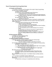 Physiological Psychology Exam 2 Study Guide