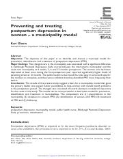 Preventing and treating postpartum depression in women – a municipality model