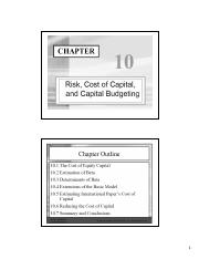 Chapter 10 - Cost of capital