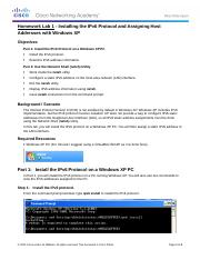 0.0.0.2 Lab - Installing the IPv6 Protocol with Windows XP.docx