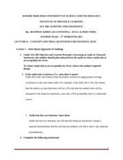 KNUST IDL ACF 468 - Lecture 10- Concept and Trial  Questions for National Quiz and Suggested Solutio