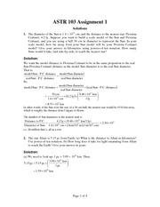 ASTR 103 Fall 2012 Assignment 1 Solutions