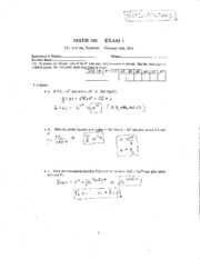 2011 Exam #1 Solutions