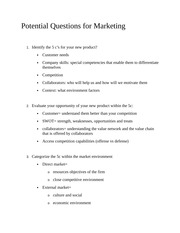 Potential Questions for Marketing