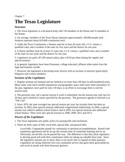 Lecture Notes Ch 7 The Texas Legislature