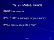 FIN 1010 Presentation Mutual Funds and Investment Indices