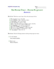 Present Progressive Tense - answers