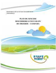 Model Plan Afaceri Coafura Frizeriedocx Infiintarea Unei