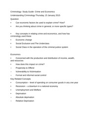 Criminology- Study Guide- Crime and Economics