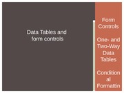 Data Tables and Form Controls