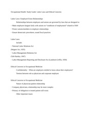 Occupational Health- Study Guide- Labor Laws and Ethical Concerns