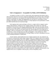 Unit 4. Assignment 2 - Acceptable Use Policy (AUP) Definition