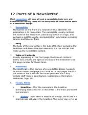 Week 12 the 12 Parts of a Newsletter.docx