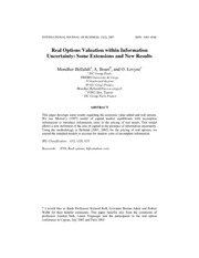 Bellalah et al (2007) - real options valuation within information uncetainty
