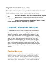 Corporate Capital Gains and Losses