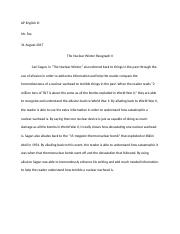 Nuclear Winter Paragraph II.docx