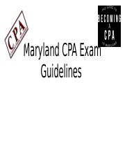 Maryland CPA Exam Guidelines