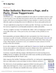 11-30-12 NYT Solar Industry Borrows a Page and party from tupperware