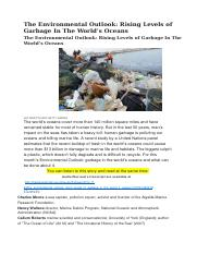 The_Environmental_Outlook_Rising_Levels_of_Garbage_In_The_World's_Oceans
