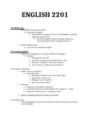 ENGLISH 2201 class notes