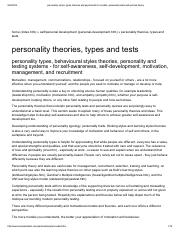 personality styles, types, theories and psychometrics models, personality tests and quizzes theory.p