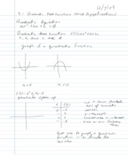 College Algebra Notes - 3.1 - Quadratic Functions and Applications