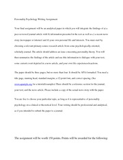 Personality Psychology Writing Assignment