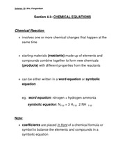 Section 4.3 - Chemical Equations