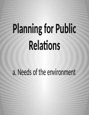 PLANNING FOR PUBLIC RELATIONS NEEDS OF ENVIRONMENT BY MAEJIMA