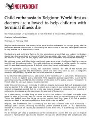 Child euthanasia in Belgium: World first as doctors are allowed to help children with terminal illne