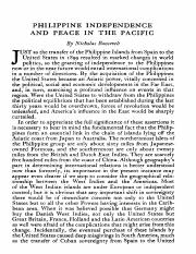 Philippine Independence and Peace in the Pacific