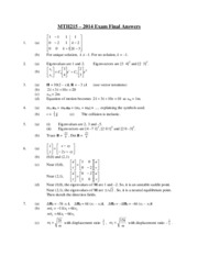 MTH215 2014 Exam Final Answers
