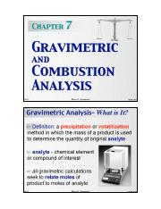 Chapter 7 - Gravimetric and Combustion Analysis