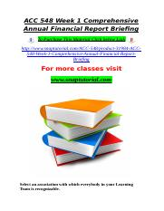 ACC 548 Week 1 Comprehensive Annual Financial Report Briefing.doc