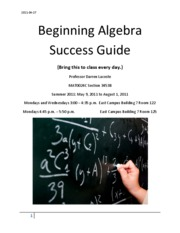 Beginning Algebra Success Guide